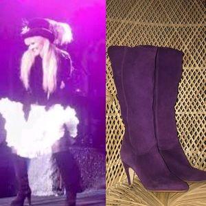 Purple leather knee boots